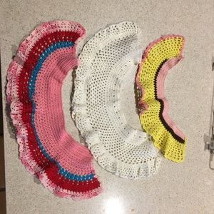 3 vintage crochet neck collars